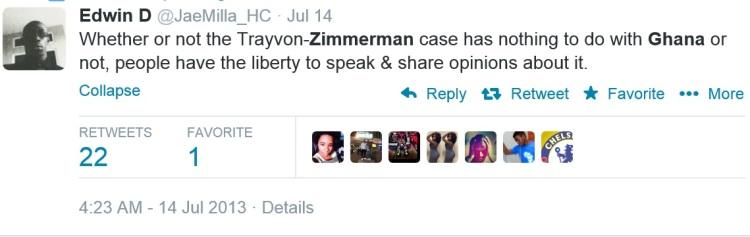 A Ghanaian friend's tweet on the Trayvon-Zimmerman case