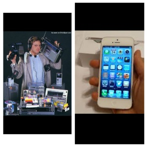 Media convergence has greatly changed technology. This technology, has in turn, changed the way we view the world around us. All the technology seen in the picture on the left, now exists within the iPhone.